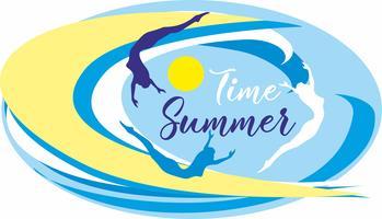 Zeit Sommer. Beschriftung. Meer. Wellen. Surfer. Seelandschaft. Design für Reisen und Urlaub. Vektor.