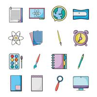 set education school utensils icons vector
