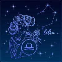 Zodiac Sign Libra som en vacker tjej. Constellation of Libra. Natthimlen. Horoskop. Astrologi. Vektor.