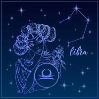Sternzeichen Waage als schönes Mädchen. Die Konstellation der Waage. Nachthimmel. Horoskop. Astrologie. Vektor.