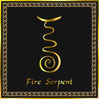 Karuna Reiki. Energy healing. Alternative medicine. Fire Serpent Symbol. Spiritual practice. Esoteric. Golden. Vector