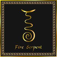 Karuna Reiki. Energía curativa. Medicina alternativa. Símbolo de la serpiente de fuego. Práctica espiritual. Esotérico. Dorado. Vector