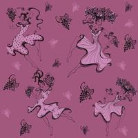 Nahtloses Muster. Mädchen sammeln Trauben. Ernte. Traube. Drucken. Tanzendes Mädchen. Vektor.