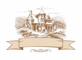 The sketch of the castle. Shaped banner. Landscape. Vector illustration.