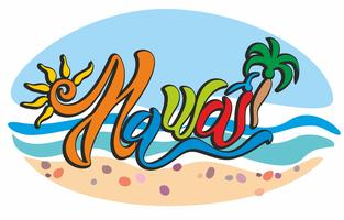 Hawaii. Lettrage joyeux. Lumineux et coloré. Sur fond de paysage marin. Les vagues et le sable. Galets de mer. Soleil et palmiers. Vecteur.