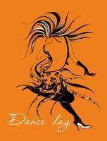 Dia de dança. Cartão de saudação Garota dançando. Dançarino. A garota se move em um ritmo rápido de dança. Gráficos elegantes. Cha cha cha Dança de salão. Dança latina. Vetor.