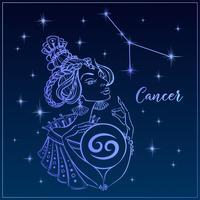 Signo zodiacal del cáncer como una niña hermosa. La constelación de cáncer. Cielo nocturno. Horóscopo. Astrología. Vector.