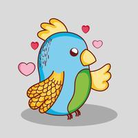 Desenhos animados bonitos bonitos do doodle do papagaio