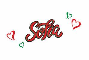 Sofia City. Bulgarije. Belettering. De kleuren van de vlag van het land. Het concept van reizen en toerisme. Vector.