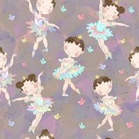 Seamless pattern. Lovely girls ballerinas dancing. Vector
