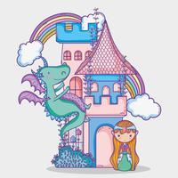 Mundo mágico, pequeno, princesa, mão, desenho, caricatura