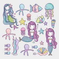 Little mermaid and sea animals art cartoon