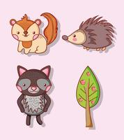 Cute animals doodle cartoons