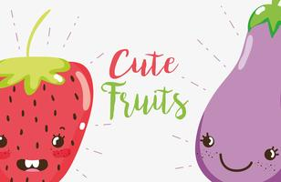 Cute fruits cartoons vector