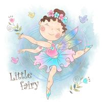 Little cute magic fairy with flowers. Vector