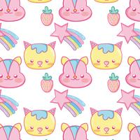 Punchy pastel cute animals background pattern
