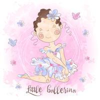 Eine kleine Ballerina mit Vögeln. Netter Stil. Vektor.