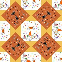 Seamless pattern. My cat. Lettering. Funny cartoon cats. Cat paw prints . Checkered background. Vector.