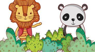 Leeuw en panda dragen in het bos