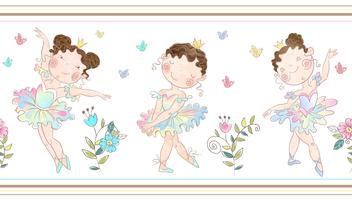Seamless border with cute ballerinas girls. Vector. vector