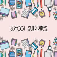 education school supplies backround design vector