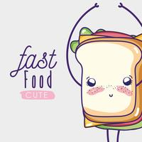 Sandwich cute kawaii cartoon vector