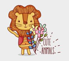 Cute lion doodle cartoon