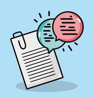 documenti aziendali lineari con messaggio di bolle di chat