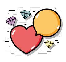 diamanti lineari con icone a forma di cuore e chat