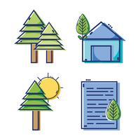 set linear flat design icons vector