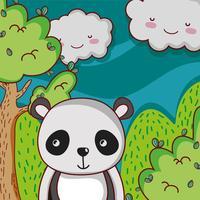 Cute panda en bosque doodle de dibujos animados