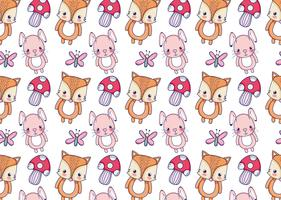 Cute Bunny and fox pattern background vector