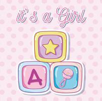 Cartão de chuveiro de bebê para menina