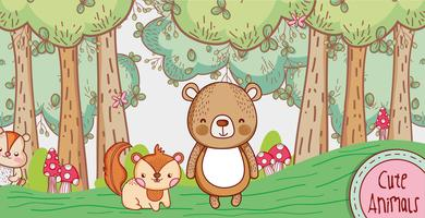 Cute bear and fox in the forest doodle cartoon