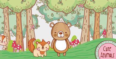 Lindo oso y zorro en el bosque de dibujos animados doodle