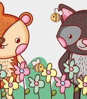 Cat and porcupine cute animals vector