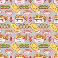 Japanese gastronomy background kawaii cartoons