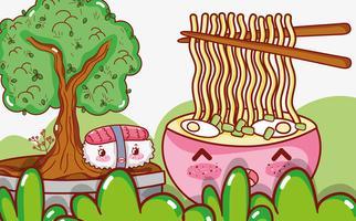 Comida asiática kawaii lindo de dibujos animados