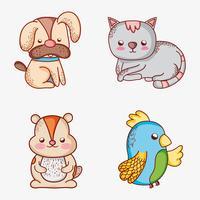 Conjunto de mascotas garabatos de dibujos animados.