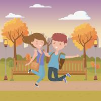 Teenager boy and girl cartoons design