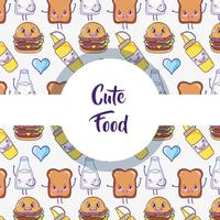 Cute food pattern background kawaii cartoons vector