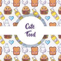 Leuke van het achtergrond voedselpatroon kawaiibeeldverhalen