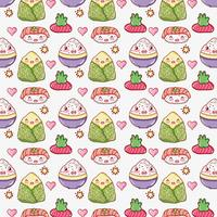 Asian food cute kawaii background vector