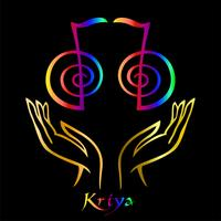 Karuna Reiki. Energy healing. Alternative medicine. Symbol Kriya. Spiritual practice. Esoteric.Open palm. Rainbow color. Vector