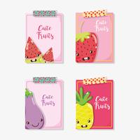 Cue fruits cards cartoons vector