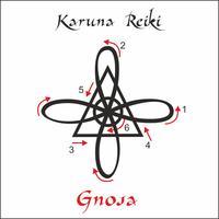 Karuna Reiki. Energía curativa. Medicina alternativa. Símbolo de Gnosa. Práctica espiritual. Esotérico. Vector