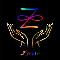 Karuna Reiki. Energy healing. Alternative medicine. Symbol Of Zonar. Spiritual practice. Esoteric.Open palm. Rainbow color. Vector