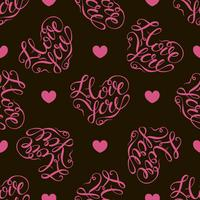Seamless pattern. Pink hearts on black background. Stylish lettering in the shape of a heart. I love you. Vector.