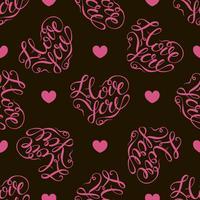 Patrón sin costuras Corazones rosados en fondo negro. Letras con estilo en forma de corazón. te quiero. Vector.