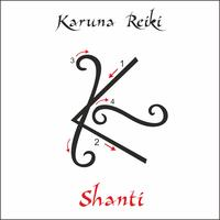 Karuna Reiki. Cura energética. Medicina alternativa. Shanti Symbol. Prática espiritual. Esotérico. Vetor